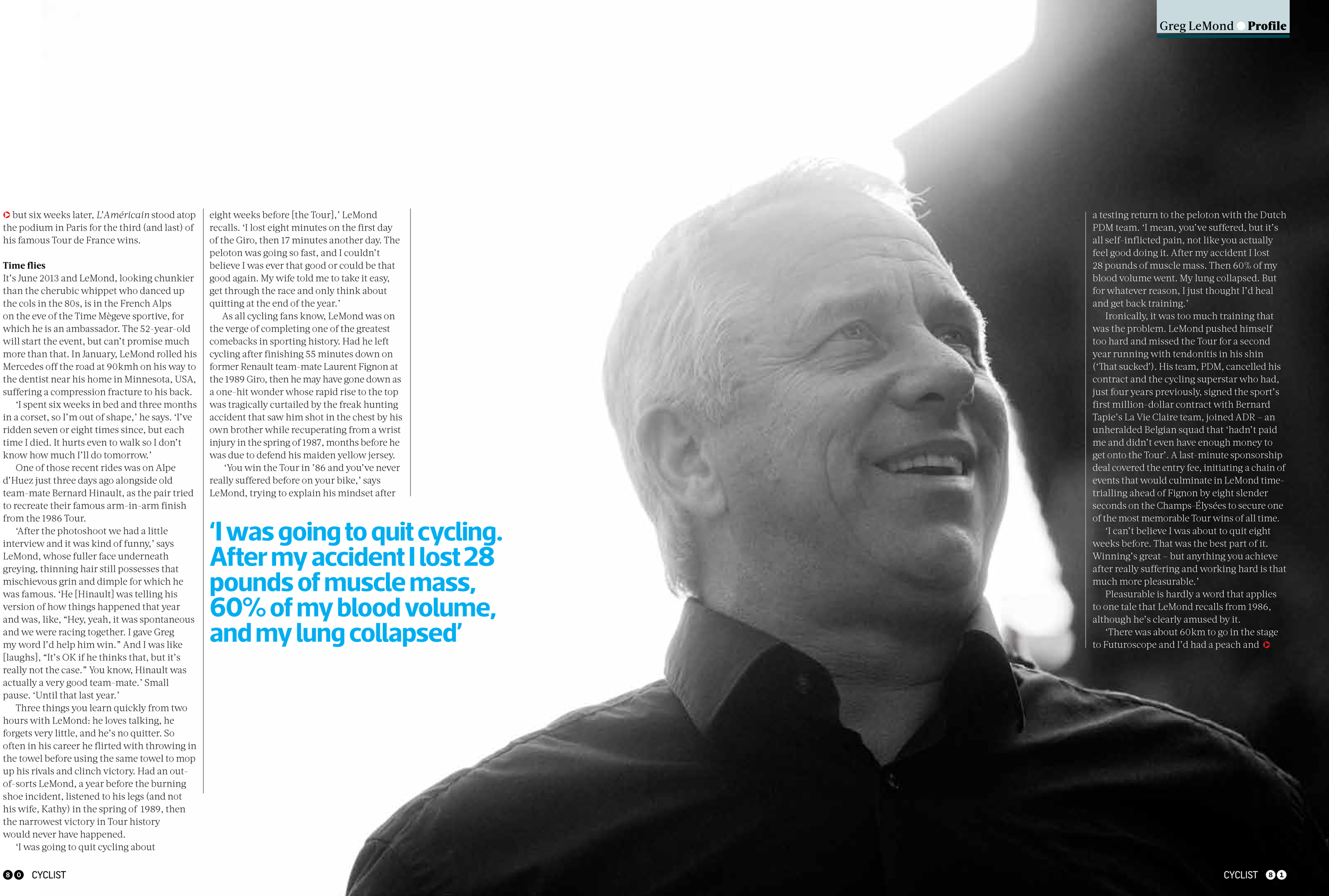 Greg Lemond photographed in Megeve for Cyclist